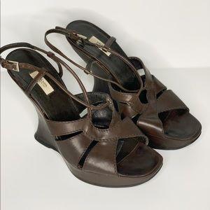 Prada leather sling back heels
